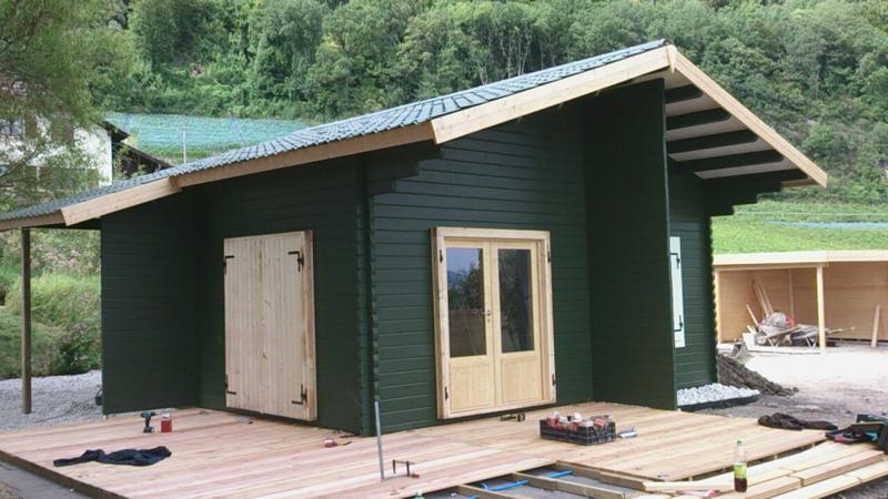 terrasse en bois douglas 2 7 x 14 6 x 300 cm avec poutraison en epicea trait autoclave. Black Bedroom Furniture Sets. Home Design Ideas