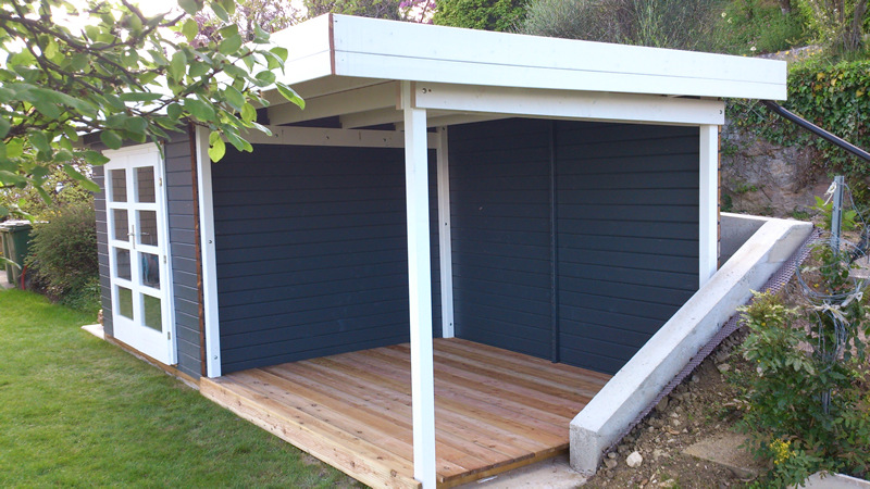 Terrasse en bois Douglas 2,7 x 14,6 x 300 cm avec poutraison en epicea